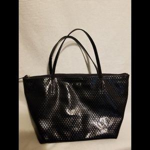 Kate Spade Black Shiny Zippered Tote Bag